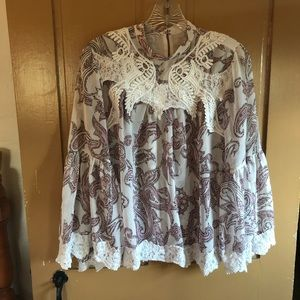 Sheer floral blouse.  High neck with lace trim.